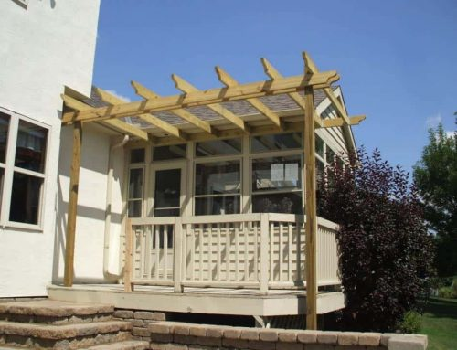 Freestanding wood attached pergola