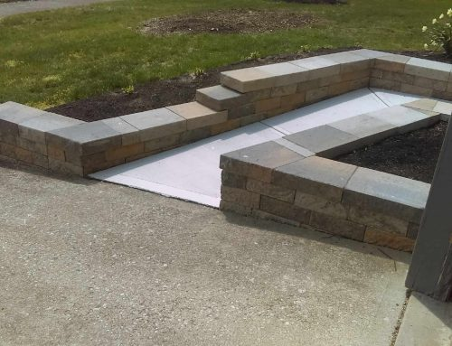 "A two terrace retaining wall using the small accent blocks 4"" by 12"""