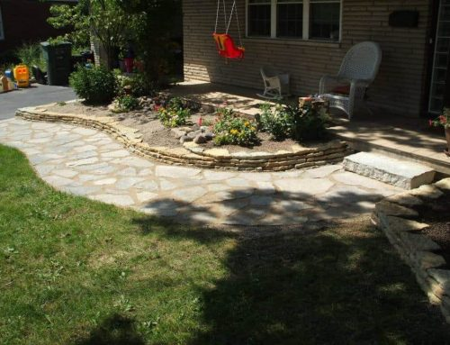 Flagstone walkway with a natural stone wall and a single limestone step
