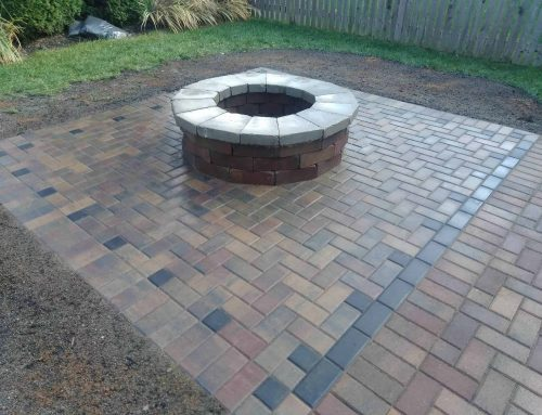 Paver patio with fire pit add on a limestone custom cut cap on top