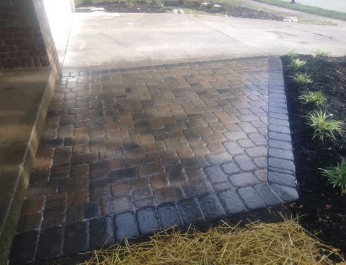 Paver patio in a flagstone colored with charcoal outline
